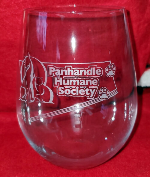 Stemless Wine Glass with Panhandle Humane Society Logo